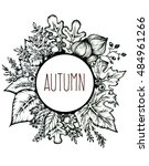 autumnal round frame. isolated... | Shutterstock . vector #484961266