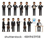 set of working people on white... | Shutterstock .eps vector #484965958