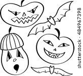 halloween design with pumpkin... | Shutterstock .eps vector #484967398