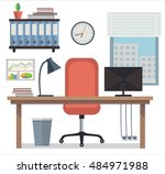 modern interior office... | Shutterstock .eps vector #484971988