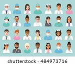group of doctors and nurses and ... | Shutterstock .eps vector #484973716