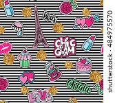cute fashion seamless pattern...   Shutterstock .eps vector #484975570