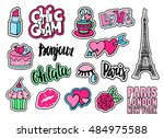 cute fashion patch badges with... | Shutterstock .eps vector #484975588