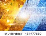 beautiful nature seasonal... | Shutterstock . vector #484977880