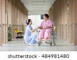 senior woman in wheelchair... | Shutterstock . vector #484981480