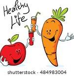 apple and carrot juice drink... | Shutterstock .eps vector #484983004