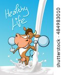 funny fitness cow lift weights  ... | Shutterstock .eps vector #484983010