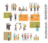 linear flat university subject... | Shutterstock .eps vector #484985359