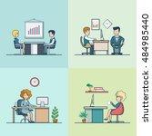 linear flat businesspeople... | Shutterstock .eps vector #484985440