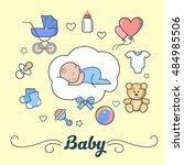 linear flat little boy sleeping ... | Shutterstock .eps vector #484985506
