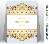 wedding invitation or card with ... | Shutterstock .eps vector #484985788