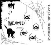 set of halloween silhouette on... | Shutterstock .eps vector #484991446