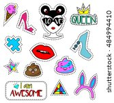 colorful fashionable pins ... | Shutterstock .eps vector #484994410