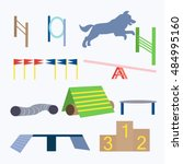agility dog obstacles vector.... | Shutterstock .eps vector #484995160