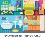 interiors of the rooms in the... | Shutterstock .eps vector #484997260