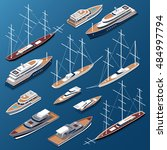 isometric flat yachts and boats ... | Shutterstock .eps vector #484997794