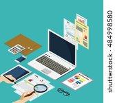business concept flat 3d... | Shutterstock .eps vector #484998580