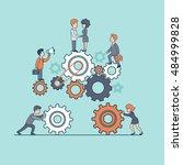 linear flat businesspeople... | Shutterstock .eps vector #484999828