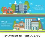 two horizontal isolated... | Shutterstock .eps vector #485001799