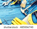 set of various tools on blue... | Shutterstock . vector #485006740
