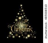 vector golden christmas tree... | Shutterstock .eps vector #485008510