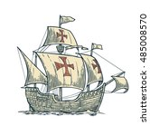 sailing ship floating on the... | Shutterstock .eps vector #485008570