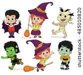 happy halloween. set of cute... | Shutterstock .eps vector #485010820