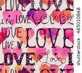 seamless pattern of words and... | Shutterstock .eps vector #485010868