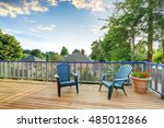 wooden floor balcony with two... | Shutterstock . vector #485012866