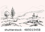 sketch of mountains landscape... | Shutterstock .eps vector #485015458
