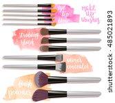 set brushes for makeup. beauty... | Shutterstock .eps vector #485021893