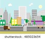 flat design urban landscape... | Shutterstock .eps vector #485023654