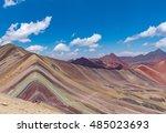 the rainbow mountains of peru   Shutterstock . vector #485023693