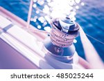 sailboat winch and rope yacht... | Shutterstock . vector #485025244