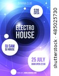 electro party invitation flyer... | Shutterstock .eps vector #485025730