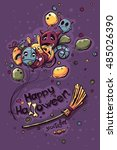 colored hand drawn halloween... | Shutterstock .eps vector #485026390