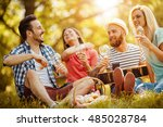 happy friends in the park... | Shutterstock . vector #485028784