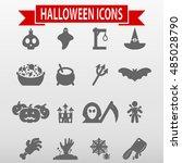 halloween icons set vector... | Shutterstock .eps vector #485028790