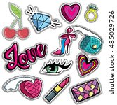 fashion patch badges with lips  ... | Shutterstock .eps vector #485029726