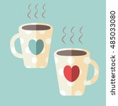 two coffee cups with hearts | Shutterstock .eps vector #485033080