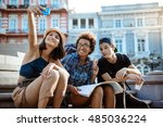 friends travelers with... | Shutterstock . vector #485036224