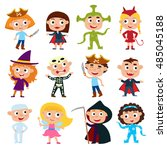 vector set of cute cartoon... | Shutterstock .eps vector #485045188