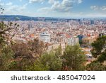 panoramic view of barcelona... | Shutterstock . vector #485047024