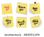 set of yellow sticky notes.... | Shutterstock .eps vector #485051194