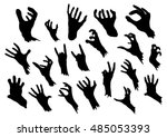 zombie hands silhouettes set in ... | Shutterstock .eps vector #485053393