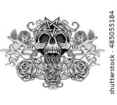 gothic coat of arms with skull  ...   Shutterstock .eps vector #485055184