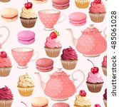 teaparty seamless background | Shutterstock .eps vector #485061028