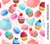 teaparty seamless background | Shutterstock .eps vector #485061034