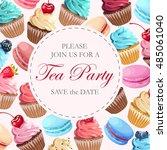 tea party invitation | Shutterstock .eps vector #485061040