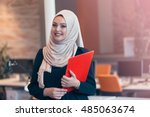 beautiful phone operator arab... | Shutterstock . vector #485063674